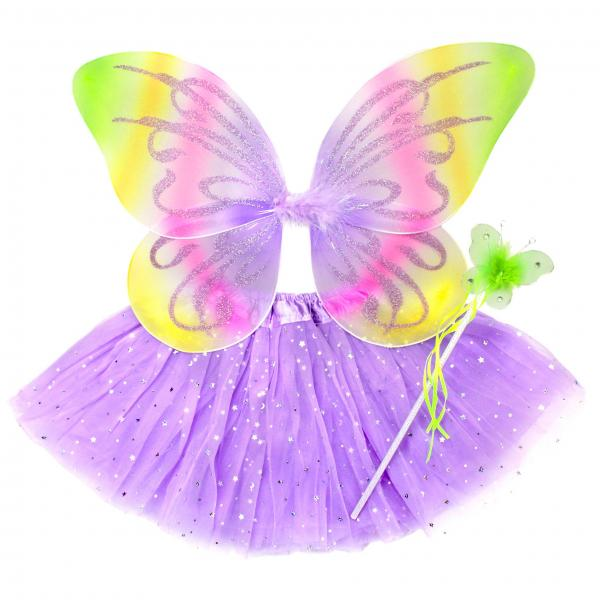 Girls Neon Butterfly Costume Fairy Wing Set with Sparkle Wings Tutu and Wand