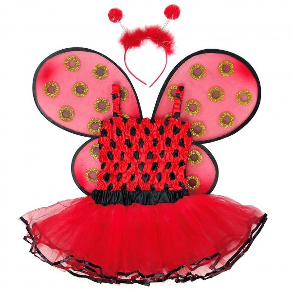 Girls 4 Piece Lady Bug Costume Set with Sparkle Wings Top Tutu and Headband