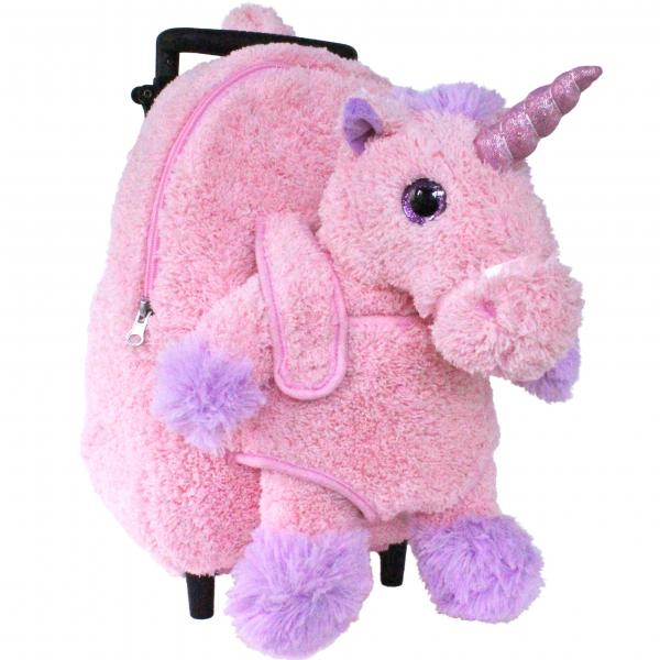 Roller Bag Kids Rolling Backpack Luggage with Removable Plush Stuffed Animal Unicorn