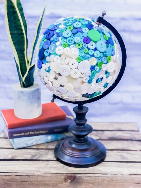 Blue and White Button Globe