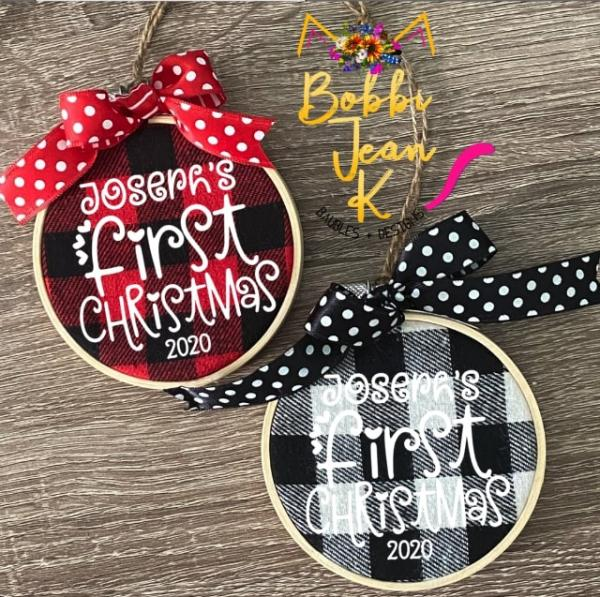 Personalized Baby's First Christmas Plaid Hoop Ornament