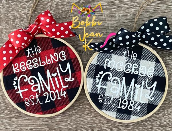 Personalized Family Plaid Hoop Ornament