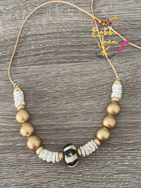 The Everyday Necklace: Gold & White Ribboned