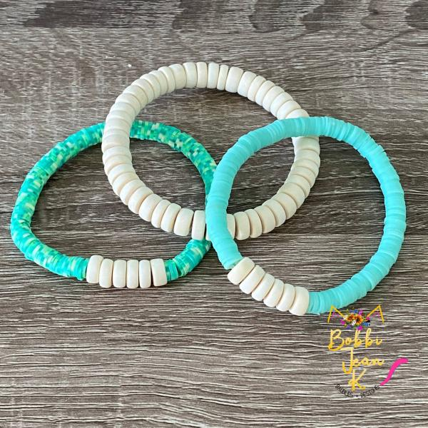 Heishi Stretch Bracelet Stack- Set of 3- Green Multi/Mint/Off-White
