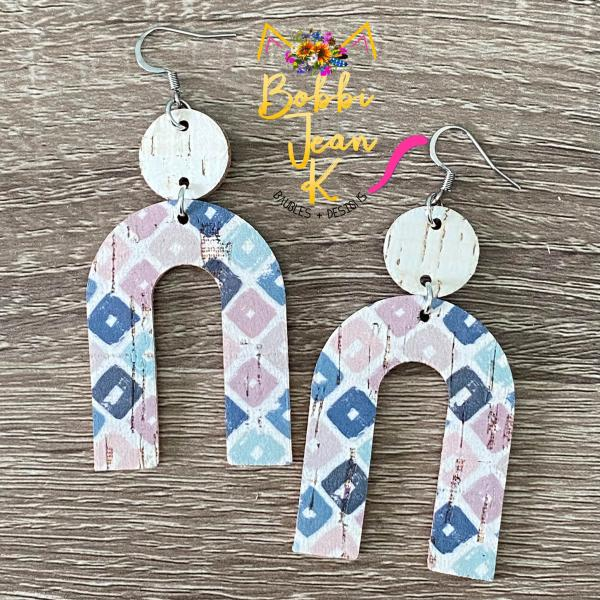 Pastel Squares Cork on Leather Earrings- Arch Shape