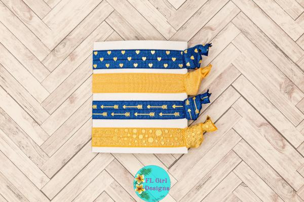 Blue and Gold Hair Ties
