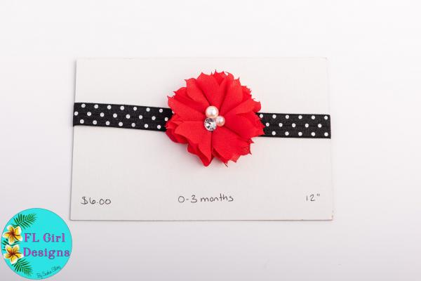 Black Polka Dot with Red Flower / 0-3 months