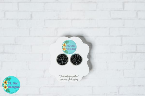 Black Chunky Druzy Stud picture