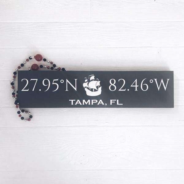 Tampa (Gasparilla) Coordinates Handcrafted Wooden Sign | Pirate Ship | Stone