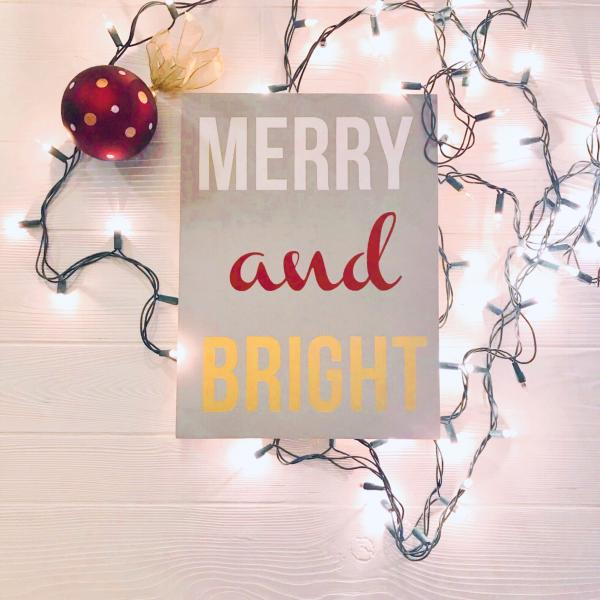 Merry & Bright Handcrafted Wooden Passport Sign picture