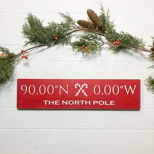 The North Pole Coordinates Handcrafted Wooden Sign