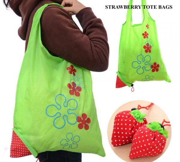 Cute Strawberry Tote Bags - Set of 5 Random Colors
