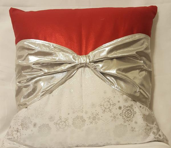 "Red, White and Silver Christmas Decorative Pillow - 18"" x 18"" Pillow Insert Included"