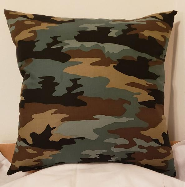 "Black, Green, Tan Camouflaged Decorative Pillow - 18"" x 18"" Pillow Insert Included"