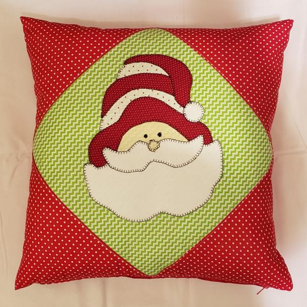 "Appliqued Red and Green Santa Decorative Pillow - 18"" x 18"" Pillow Insert Included"