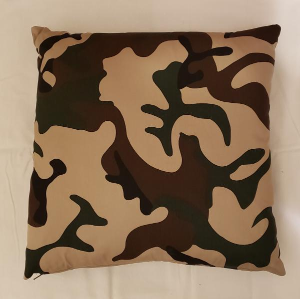 "Black, Green, Beige Camouflaged Decorative Pillow - 18"" x 18"" Pillow Insert Included"