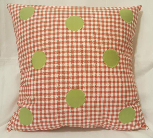 "Appliqued Checked Decorative Christmas Pillow - 18"" x 18"" Pillow Insert Included"