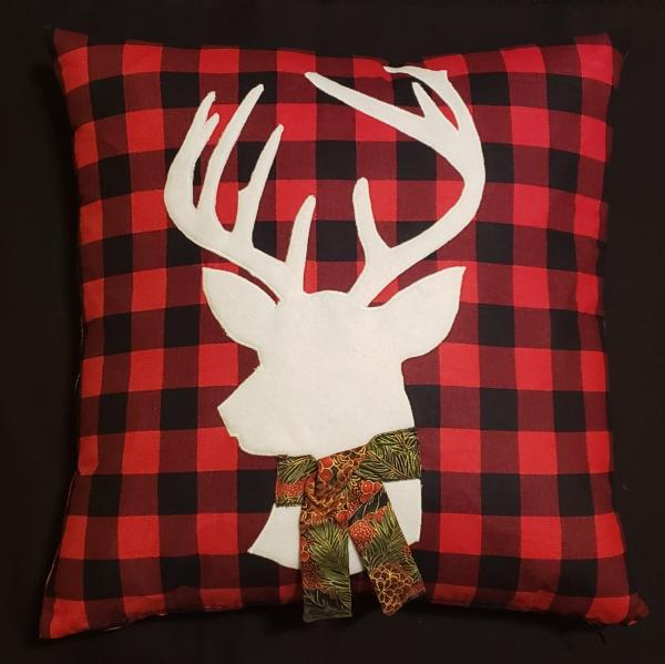 "Appliqued Deer Silhouette Christmas Pillow - 18"" x 18"" Pillow Insert Included"