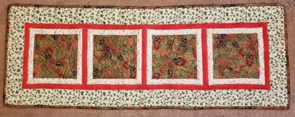 "Colorful Pine Cone Christmas Table Runner - 18"" x 51"""
