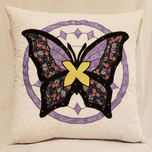 "Quilted Decorative Blue and Lavender Butterfly Pillow - 18"" x 18"" Pillow Insert Included"