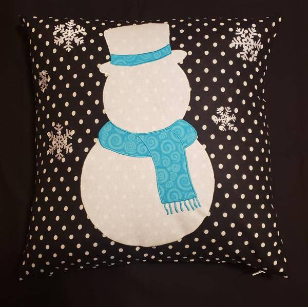 "Appliqued Snowman Christmas/Winter Decorative Pillow - 18"" x 18"" Pillow Insert Included"