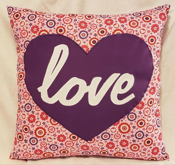 "Appliqued Decorative Heart/""love"" Pillow - 18"" x 18"" Pillow Insert Included"