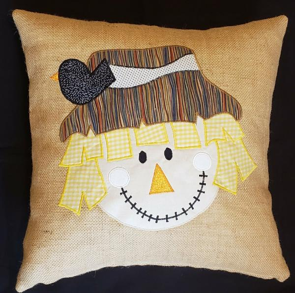 "Appliqued Decorative Fall Scarecrow Burlap Pillow - 18"" x 18"" Pillow Insert Included"