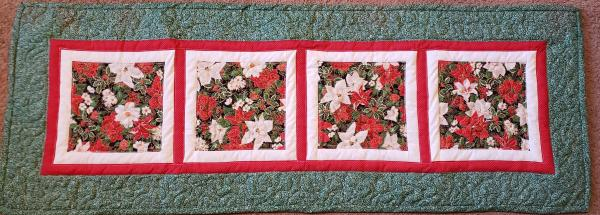 "Colorful Poinsettia Christmas Table Runner - 18"" x 51"""
