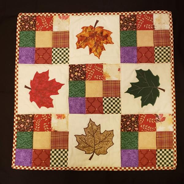 "Colorful Fall Leaf Scrappy Table Topper - 23"" x 23"""