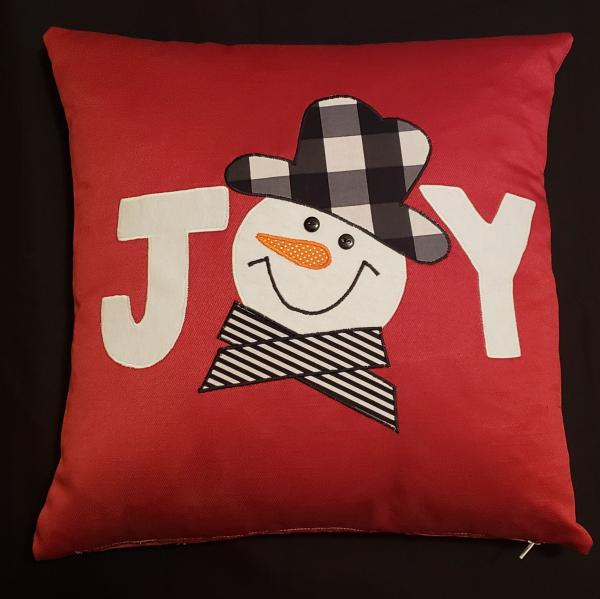 "Appliqued Decorative Snowman/Joy Christmas Pillow - 18"" x 18"" Pillow Insert Included"