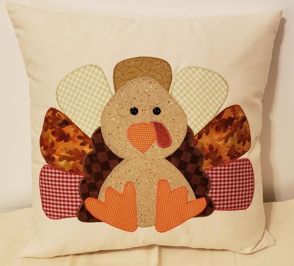 "Appliqued Decorative Turkey Fall/Thanksgiving Pillow - 18"" x 18"" Pillow Insert Included"