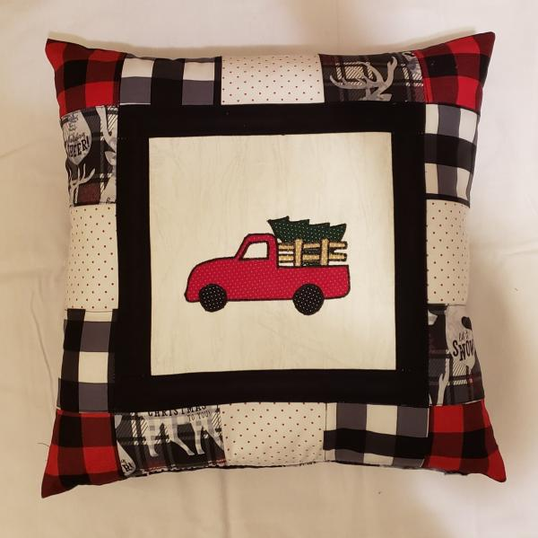 "Pieced/Appliqued Red Truck Decorative Pillow - 18"" x 18"" Pillow Insert Included"