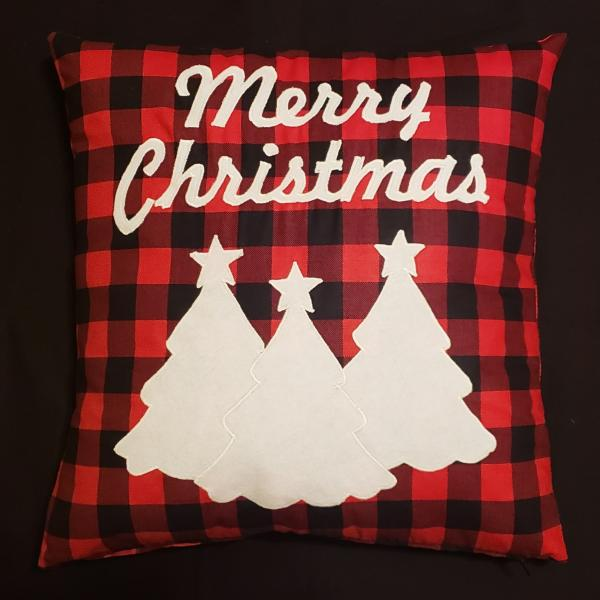 "Appliqued ""Merry Christmas"" Pillow - 18"" x 18"" Pillow Insert Included"