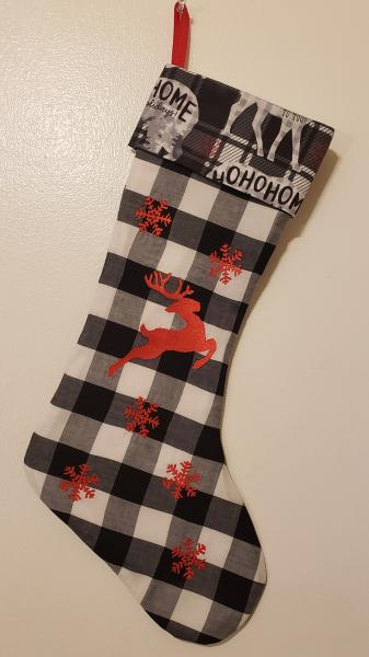 Embroidered White and Black Buffalo Check Christmas Stocking