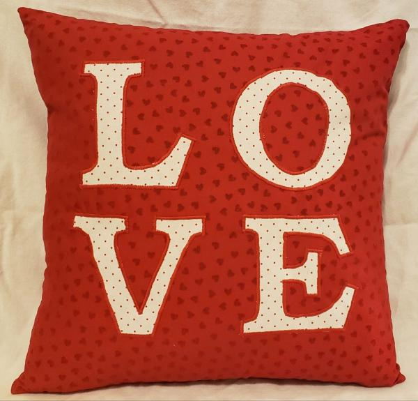 "Appliqued Decorative ""LOVE"" Pillow - 18"" x 18"" Pillow Insert Included"