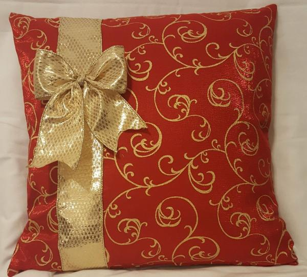 "Red and Gold Christmas Decorative Pillow - 18"" x 18"" Pillow Insert Included"