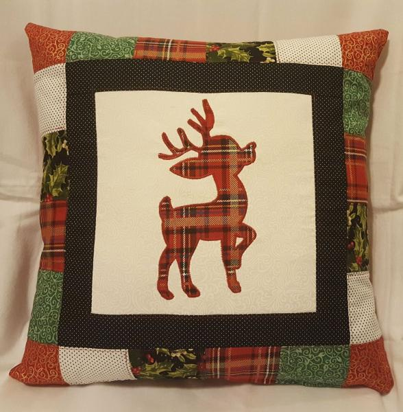 "Quilted Decorative Reindeer Christmas Pillow - 18"" x 18"" Pillow Insert Included"