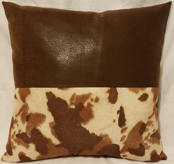 "Brown Faux Leather/Cow Suede Print Decorative Pillow - 18"" x 18"" Pillow Insert Included"