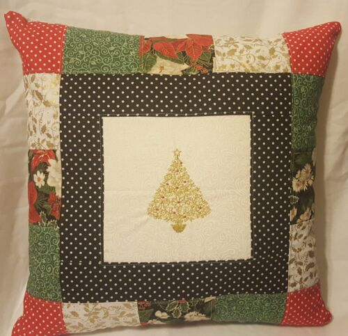 "Quilted Scrap Decorative Christmas Tree Pillow - 18"" x 18"" Pillow Insert Included"