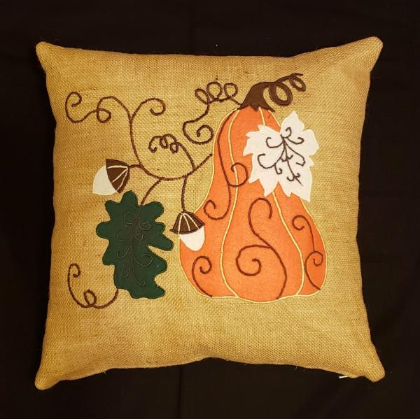 "Appliqued Decorative Fall Burlap Pillow - 18"" x 18"" Pillow Insert Included"