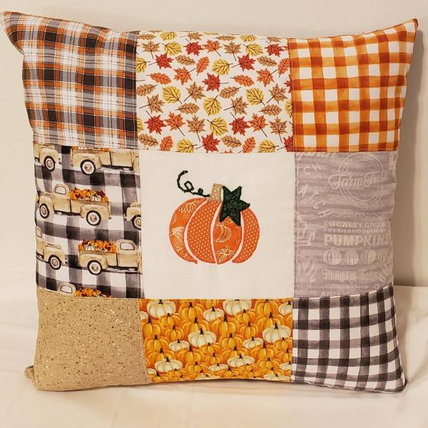 "Appliqued Colorful Scrappy Fall Pillow - 18"" x 18"" Pillow Insert Included"
