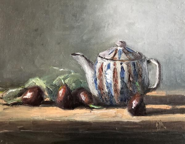 "Figs and Tea 8""x10"" oil on panel"