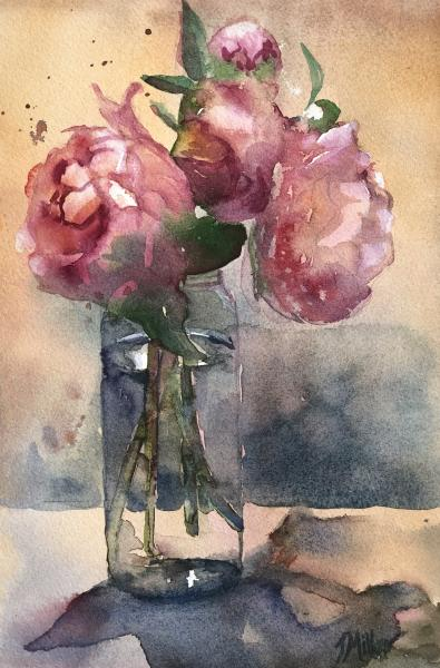 "Pink peonies II 11""x7"" Watercolor on paper picture"