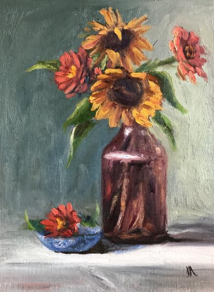 "Sunflowers and Zinnias 12""x9"" oil on panel"