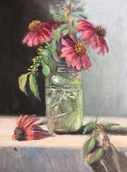 "Pink Echinacea 12""x9"" oil on panel"