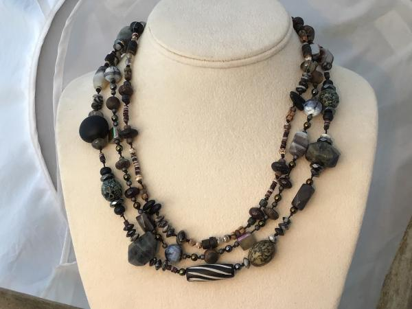 Necklace, Hand Knotted, triple strand black
