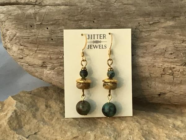Earring, gold, African Turquoise