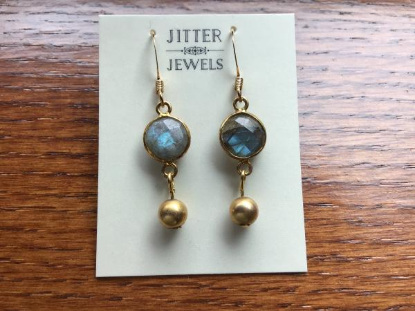 Earring small Labradorite and gold