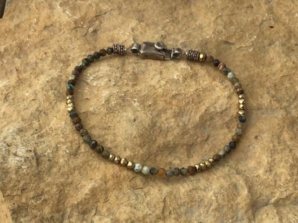 Bracelet, vintage Sterling Silver Box Clasp, Faceted Micro Jasper