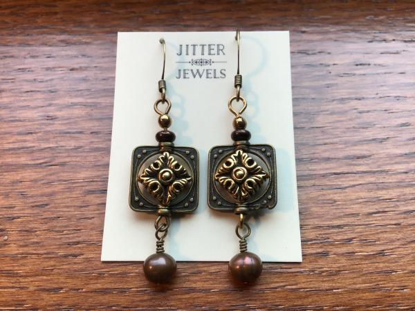 Earring, Antiqued Bronze, and Gold, Freshwater Pearl